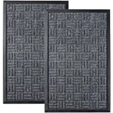 HOMWE Front Door Mats, 2 Pc Set, 29.5 x 17, All Weather Entry and Back Yard Door Mat, Indoor and Outdoor Safe, Non-Slip Rubbe
