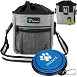 PetAmi Dog Treat Pouch | Dog Training Pouch Bag with Waist Shoulder Strap, Poop Bag Dispenser and Collapsible Bowl | Treat Tr
