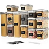 LARGE SET 28 pc Airtight Food Storage Containers with Lids (14 Container Set) Airtight Plastic Dry Food Space Saver Boxes, On