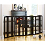 PAWLAND Wooden Freestanding Foldable Pet Gate for Dogs,4 Panel, 36 inch Tall Fence, Dog Gate for The House, Doorway, Stairs,