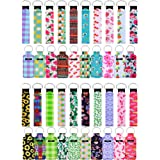 40 Pieces Chapstick Holder Keychains Neoprene Wristlet Keychain Lanyards Lipstick Holder Lip Balm Pouch Vibrant Colors for Gi