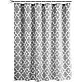 "Biscaynebay Printed Fabric Shower Curtain, Morocco Pearl Bathroom Curtain (72""X72"", Morocco Silver Grey)"