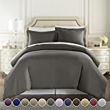 (Queen, Gray) - HC COLLECTION - 1500 Thread Count Egyptian Quality Duvet Cover Set Full Queen Size, 3pc Luxury Soft, Queen Gr
