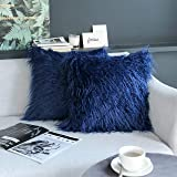 Kevin Textile Set of 2 Decorative New Luxury Series Merino Style Navy Blue Fur Throw Pillow Cover Cushion Case Pillow Case fo