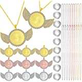27 Pieces Rhinestone Wing Bezel Pendant Trays with Glass Cabochons and Lobster Clasps Chains Set, 3 Colors for DIY Jewelry Cr