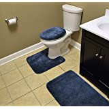 Garland Rug BA010W3P02K2 Traditional Bath Rug Set, 3-Piece Set, Navy