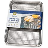 Baking Pan with Cooling Rack Set - Half Sheet Pan Size - Includes a Professional Aluminum Baking Sheet and a Stainless Steel