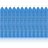 Bememo 12 Pieces Sealing Wax Sticks with Wicks Antique Fire Manuscript Sealing Wax for Wax Seal Stamp (Blue)