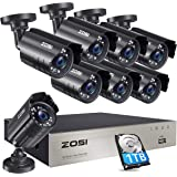 ZOSI 8-Channel 1080N HD Video Security System CCTV DVR 1TB Hard Drive + 8 Indoor/Outdoor 1.0MP 1280TVL Weatherproof Surveilla