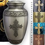 Love of Christ Silver Cremation Urns for Human Ashes Adult for Funeral, Burial, Niche or Columbarium Cremation, Urns for Adul
