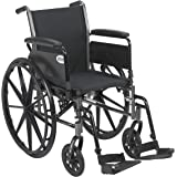 """Drive Medical Cruiser III Light Weight Wheelchair with Various Flip Back Arm Styles and Front Rigging Options, Black, 18"""""""