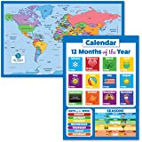 """2 Pack - World Map for Kids + Days of The Week and Months of The Year Calendar for Kids (Laminated, 18"""" x 29"""")"""