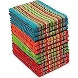 Cotton Craft 12 Pack Salsa Stripe Multicolor Kitchen Towels 16x28 Pure 100 Percent