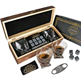 Eyozka Whiskey Glass Set Gift Box - C. Cutter and Whiskey Stones Included - Chilling Stones Gift Set - Scotch Bourbon Glasses