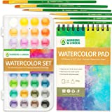 Watercolor Paint Set - 36 Premium Paints - 12 Page Pad - 6 Brushes - Painting Supplies with Palette, Watercolors, Art Pad Pap