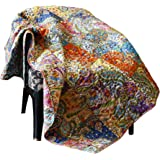 Rajrang Patchwork Decorative Floral Throw Blanket Multi Color Super Soft Warm Indian Vintage Reversible Quilt For Sofa and Co