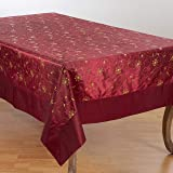 """SARO LIFESTYLE XJ511.BU65140B Sevilla Collection Beautiful Holiday Tablecloth with Embroidered and Sequined Design, 65"""" x 140"""