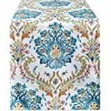 KEQIAOSUOCAI Abstract Floral Damask Pattern Linen Table Runners - Waterproof Wrinkle Resistant Oil Proof Heavy Weight Table R