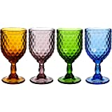 Colored Glass Goblet Set of 4 Multi Colors Drinking Glasses (11 OZ)