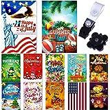 Seasonal Garden Flags Set 10 pcs + Bonus 2 pcs Flags - 12 x 18 Holiday Yard Flags Set and Festive Small Garden Flag by Best P