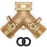 Morvat Heavy Duty Brass Garden Hose Connector Tap Splitter (2 Way) - Hose Spigot Adapter 2 Valves