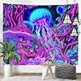 Hexagram Trippy Tapestry Hippie Mushroom Art Tapestry Wall Hanging Magical Forest Fantasy Space Planet Tapestry Psychedelic J
