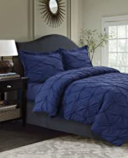 Tribeca Living SYD110DSQUDB Sydney 110-GSM Microfiber Duvet Cover Set, Moonlight Blue, Queen