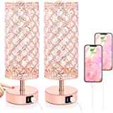 Touch Control Crystal Table Lamp Set of 2 Bedside Nightstand Lamps with 2 USB Charging Ports, 3-Way Dimmable, K9 Crystal Deco