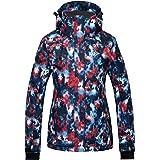 Wantdo Women's Waterproof Ski Jacket Colorful Printed Rain Coat Winter Parka