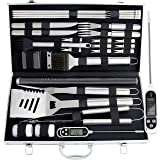 ROMANTICIST 27pc BBQ Grill Accessories Set with Thermometer - Heavy Duty Stainless Steel Grill Utensils in Aluminium Case for