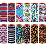 Elcoho 12 Pieces Beer Can Cooler Covers Soft Beer Cooler Bag Neoprene Slim Can Sleeves Insulated Slim Sleeves for Cans Slim C