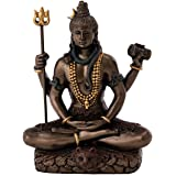 Top Collection Mini 3.25 Lord Shiva in Lotus Pose - Hindu God and Destroyer of Evil. Good Protection. Bronze Powder Mixed wit