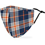 Weddingstar Washable Cloth Face Mask Reusable and Adjustable Protective Fabric Face Cover w/Dust Filter Pocket - Navy Plaid