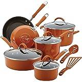Rachael Ray Cucina Cookware Set, Pumpkin Orange, 12 Piece, 16328