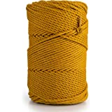 Macrame Cotton Cord 3mm, 1350 m, 500g - 3PLY Coloured Rope for Macrame Dream Catcher, Wall Hanging, Plant Hanger, Gift Wrappi