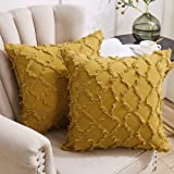 Longhui bedding Yellow Throw Pillow Covers for Sofa, Couch, Bedroom, Family Room – Set of 2 Decorative Pillows 18 x 18 Inches