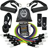 Tribe 11PC Premium Resistance Bands Set, Workout Bands - with Door Anchor, Handles and Ankle Straps - Stackable Up to 105 lbs