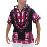 Full Funk Dashiki Light Hoody in Black Base Colors Festival Party Shirt Short Sleeve