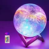 OxyLED Moon Lamp, 16 Colors 7.1 Inch 3D Print LED Galaxy Moon Light Dimmable with Stand Remote Touch Tap Control and USB Rech
