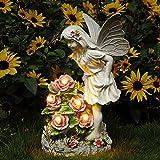 Voveexy Garden Figurines Angel Garden Statue Outdoor Decor, Solar Powered Resin Sculpture with 5 LEDs Art Decoration for Pati