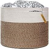 "HiChen Large Cotton Rope Basket 15.8""x15.8""x13.8""-Baby Laundry Basket Woven Blanket Basket Nursery Bin"
