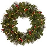 National Tree 24 Inch Crestwood Spruce Christmas Wreath with Silver Bristle, Cones, Red Berries and 50 Clear Lights (CW7-306-