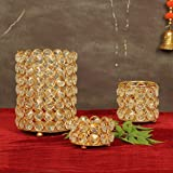 TIED RIBBONS Crystal Tealight Candle Holder for Home Décor - Tealight Candle Holder for Diwali Decoration (Pack of 3)