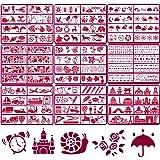 eZAKKA 72枚 描画テンプレート 描画ステンシルシート 手帳用テンプレート 絵図 ステンシルプレート 絵描き道具 テンプレート 製図 塗り絵 数字 花 DIY