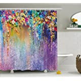 (180cm W By 180cm L, Multi 6) - Watercolour Flower Home Decor Shower Curtain by Ambesonne, Abstract Herbs Weeds Blossoms Ivy