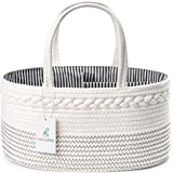 Luxury Little Baby Diaper Caddy Organizer - Rope Nursery Storage Bin for Boys and Girls - Large Tote Bag & Car Organizer with