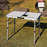 YFFIREFLY 24''x16'' Folding Camping Table, Small Picnic Folding Table, Portable Adjustable Height Lightweight Aluminum Campin