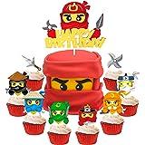 ANGOLIO 49Pcs Ninja Cake Toppers, Ninja Themed Party Cake Decorations, Happy Birthday Felt Cake Topper and Cardstock Ninja Cu
