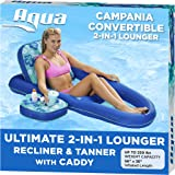 Aqua Campania Ultimate 2 in 1 Recliner & Tanner Pool Lounger with Adjustable Backrest and Caddy, Inflatable Pool Float, Teal