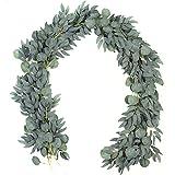2 Pack - Artificial Eucalyptus Garland with Willow Vines, 6.5' Long Faux Eucalyptus Garland Greenery, Silver Dollar Eucalyptu